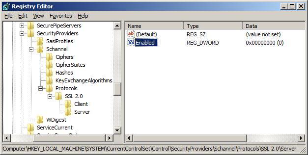 关闭SSLV2.0 协议