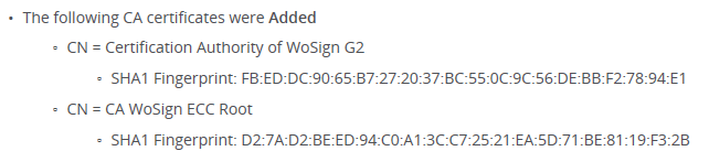 WoSign new root certificate