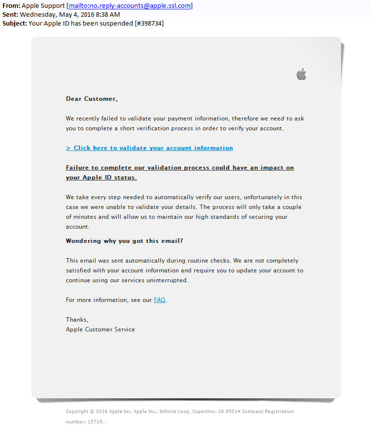 Faked Apple Email Induced To Steal Users Apple Id Wosign Ssl